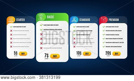 Support Consultant, Fair Trade And Best Manager Line Icons Set. Pricing Table, Subscription Plan. Sw