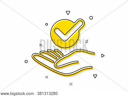 Accepted Or Confirmed Sign. Approved Icon. Verified Symbol. Yellow Circles Pattern. Classic Approved