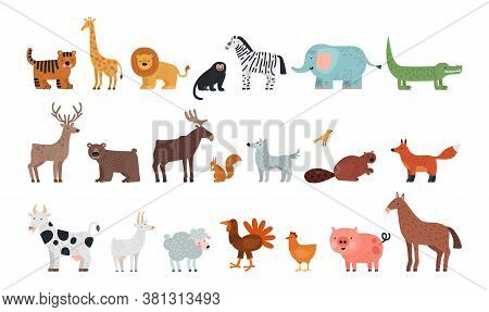 Different Animals. Farm Savanna Forest Fauna, Isolated Wildlife Characters. Wolf Tiger Bear Deer Squ
