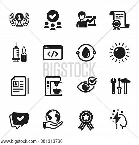 Set Of Business Icons, Such As Cold-pressed Oil, Medical Vaccination. Certificate, Approved Group, S