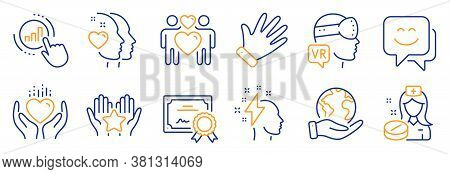 Set Of People Icons, Such As Hold Heart, Brainstorming. Certificate, Save Planet. Heart, Nurse, Smil
