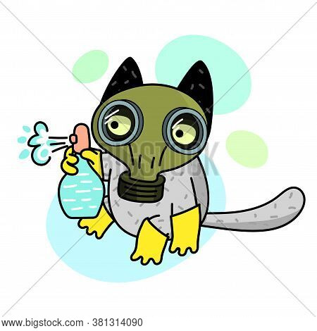Concept Of Quarantine. Cartoon Cat In Gas Mask And Holds Disinfector.