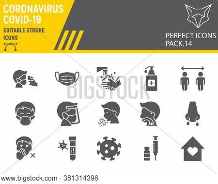Coronavirus Glyph Icon Set, Prevention Collection, Vector Sketches, Logo Illustrations, Covid-19 Ico