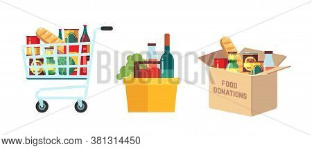 Shopping Food Carts. Grocery Store, Supermarket Full Basket With Products. Isolated Market Pushcart.