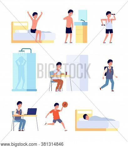 Boy Daily Activities. Kid Hygiene, Smiling Active Baby Morning Time. Little Child Studying Eating Wa