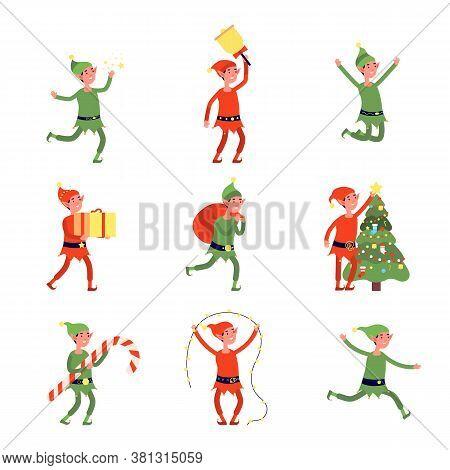 Christmas Elves. Cartoon Elf, Flat Santa Helpers Holding Present, Bag, Tree. Cute Joyful Holiday Mag