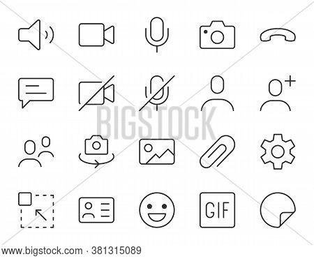 Videocall Line Icon. Minimal Vector Illustration, Simple Outline Icons - Chat, Message, Microphone,
