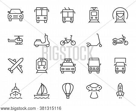 Transport Line Icon. Minimal Vector Illustration With Thin Outline Icons As Car, Bus, Train, Bicycle