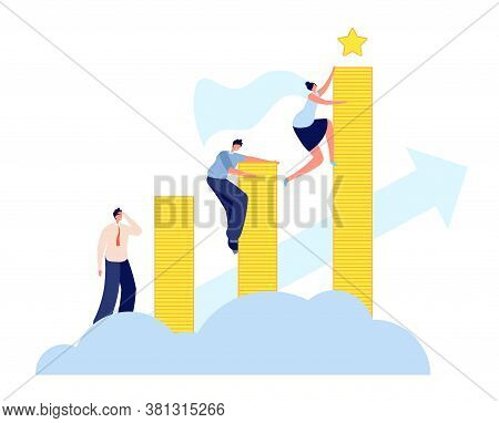 Female Career Growth. Modern Business, Woman Aspiring To Success. Ascent To Goal, Leadership And Dev