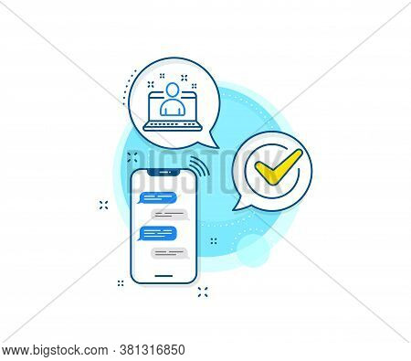 Business Management Sign. Phone Messages Complex Icon. Best Manager Line Icon. Agent Symbol. Messeng