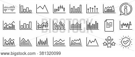 Set Of Candle Stick Graph, Report Diagram And Infochart Icons. Financial Chart Line Icons. Growth, T