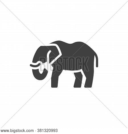 Elephant, Animal Vector Icon. Filled Flat Sign For Mobile Concept And Web Design. Elephant, Side Vie