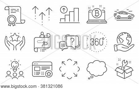 Set Of Technology Icons, Such As Journey Path, 360 Degrees. Diploma, Ideas, Save Planet. Question Ma