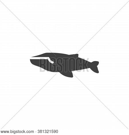 Whale Fish Vector Icon. Filled Flat Sign For Mobile Concept And Web Design. Marine Mammal Whale Glyp