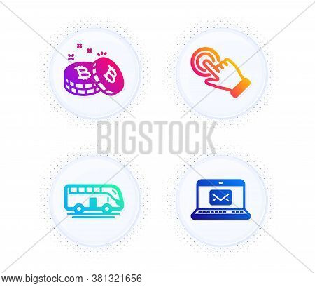 Touchscreen Gesture, Bus Tour And Bitcoin Icons Simple Set. Button With Halftone Dots. E-mail Sign.