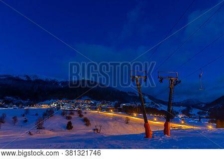 evening skiing in the ski center Donovaly Slovakia