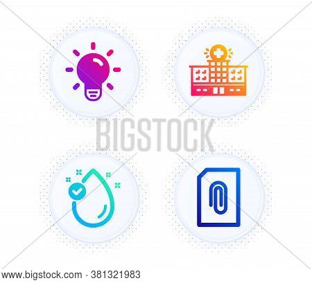 Hospital Building, Vitamin E And Light Bulb Icons Simple Set. Button With Halftone Dots. Attachment