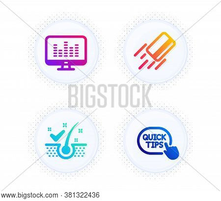 Anti-dandruff Flakes, Credit Card And Music Making Icons Simple Set. Button With Halftone Dots. Quic