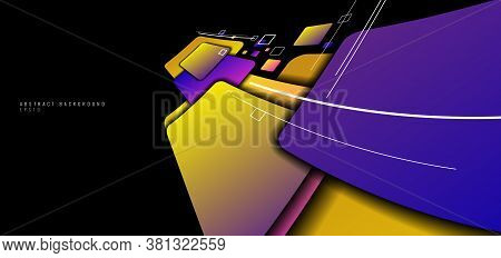 Banner Web Template Distorted Squares Colorful Design Perspective On Black Background With White Lin