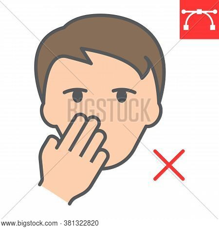 Do Not Touch Your Face Color Line Icon, Coronavirus And Covid-19, Don T Touch Face Sign Vector Graph