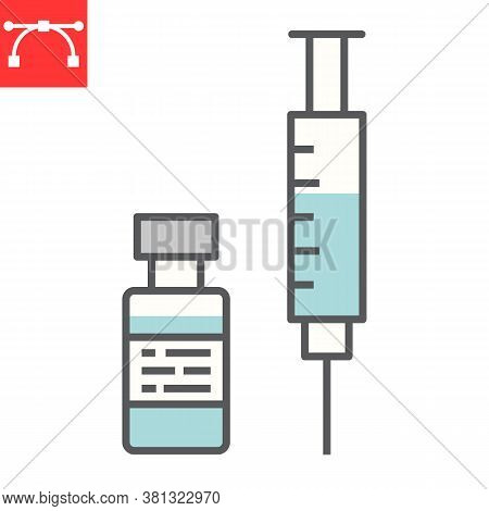 Covid-19 Vaccine Color Line Icon, Coronavirus And Syringe, Vaccination Sign Vector Graphics, Editabl