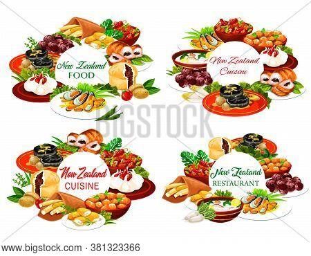 New Zeland Cuisine Vector Round Frames Pork With Apples And Prunes, Afghan Cookies, Pavlova Cake, Mu