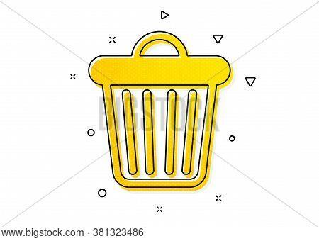 Garbage, Waste Sign. Trash Bin Icon. Delete, Remove Symbol. Yellow Circles Pattern. Classic Trash Bi