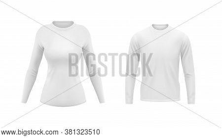 White Shirts With Long Sleeves For Men And Women Vector Mockup. Blank Appaprel Design Front View, Re