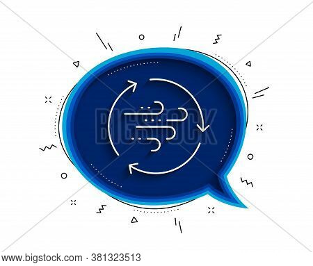 Wind Energy Line Icon. Chat Bubble With Shadow. Breeze Sign. Ecology Power Symbol. Thin Line Wind En