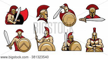 Spartan Warriors, Knights With Helmet And Shield, Medieval Gladiator In Armor With Sword, Vector Her