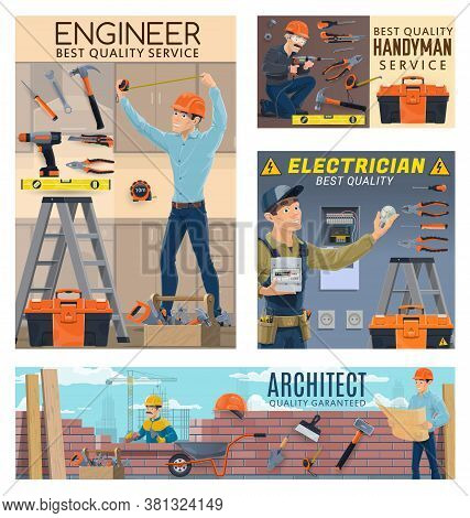 Builder Engineer And Architect, Electrician Worker And Home Repair Service, Vector. Architect And Bu