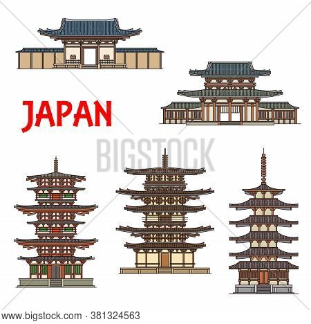 Japanese Temples, Shrines And Pagodas In Ikaruga Nara, Japan, Vector Buddhist Architecture Landmarks