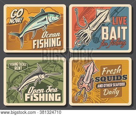 Marlin, Tuna Fish And Squid Vector Retro Posters, Seafood Production, Underwater Animals. Fishing Cl