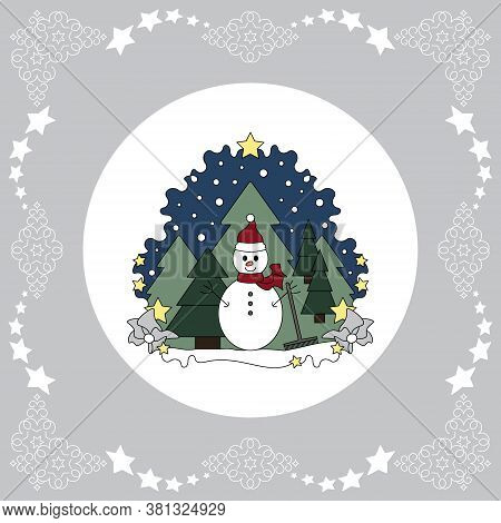 Pattern Christmas Theme. Snowman And Fir Forest, Falling Snow. Vector Illustration.