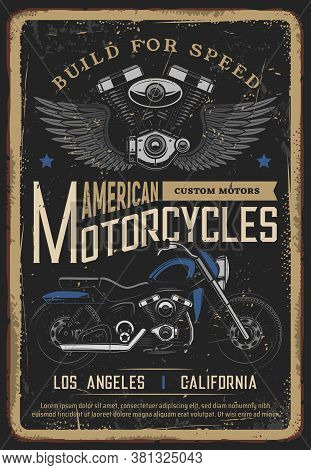 Motorcycle Poster, Vintage Retro Biker Moto Garage And Classic Chopper Bike. Custom Motorbike And Am