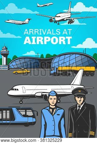Aviation, Airport With Airplanes And Aircrew Vector Poster. Pilot And Flight Attendant Of Passenger