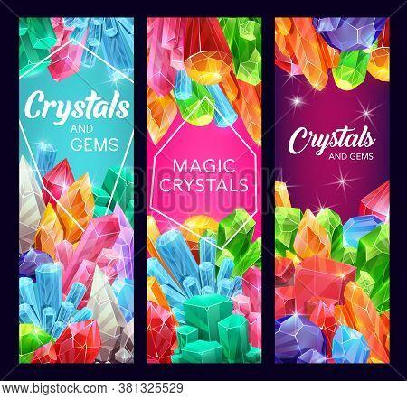 Crystal Gem Stones And Gemstone Minerals. Vector Natural Jewelry Rhinestones Quartz And Diamond, Gre
