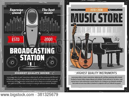 Radio Broadcast Poster, Music Instruments Store, Vector Retro Microphone Of And Piano. Broadcasting