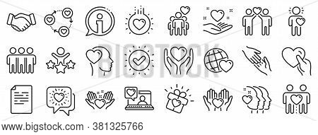 Interaction, Mutual Understanding And Assistance Business. Friendship And Love Line Icons. Trust Han