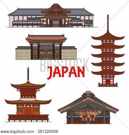 Japanese Temples, Pagodas And Shrines, Japan Vector Buildings. Izumo-taisha Or Izumo Oyashiro Shinto