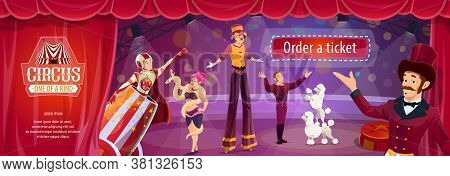 Circus Show Vector Flyer With Big Top Performers Ringmaster, Man Cannonball And Tamer With Trained D