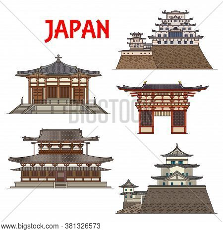 Japanese Temples, Shrines And Pagodas Of Japan In Osaka, Iga And Himeji, Vector Architecture Landmar