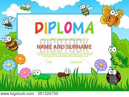 Kids Diploma, Cartoon Vector Insects Bees, Butterfly And Ladybug, Caterpillar, Dragonfly, Mosquito W