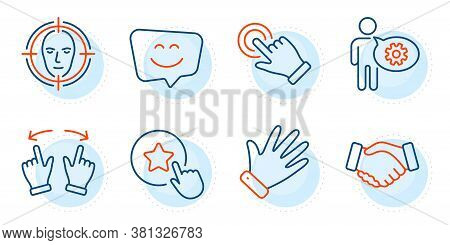 Smile Face, Handshake And Cogwheel Signs. Face Detect, Loyalty Star And Touchscreen Gesture Line Ico