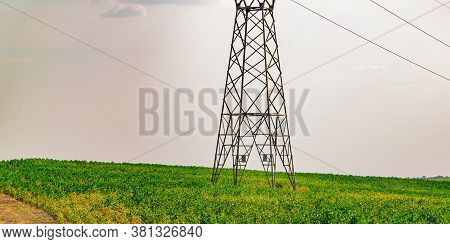 Power Transmission Tower In A Dramatic Sky In A Rural Landscape In Southern Brazil