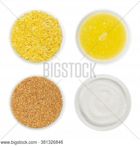 Lemon Zest, Juice And Citric Acid In White Glass Bowls. Fresh And Dried Grated Lemon Peel, Freshly S