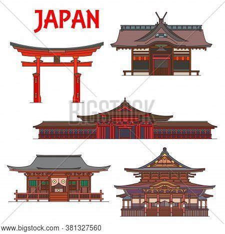 Japanese Temples, Pagodas And Shrines, Japan Tokyo Red Torii Gates Itsukushima Ryobu. Vector Buddhis