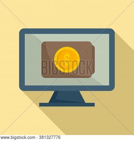 Online Pc Digital Wallet Icon. Flat Illustration Of Online Pc Digital Wallet Vector Icon For Web Des