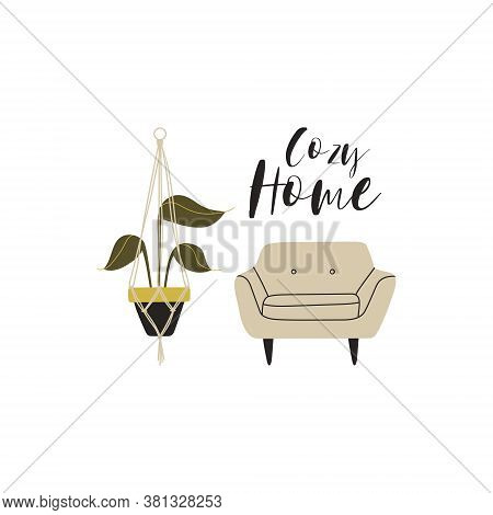 Illustration Of A Cozy Home. Cute Illustration With A Chair And A Potted Plant In A Pot On The Ropes
