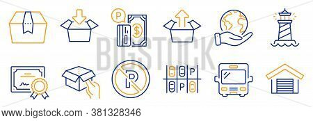 Set Of Transportation Icons, Such As Get Box, No Parking. Certificate, Save Planet. Parking Place, S